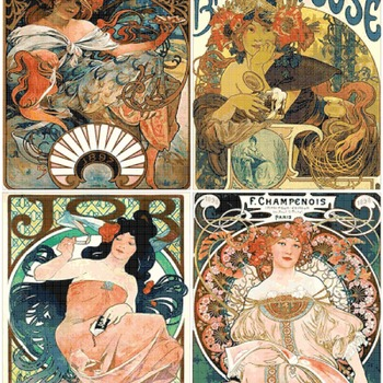 counted cross stitch pattern 4 reclame Mucha stained 313 * 292 stitches CH2354