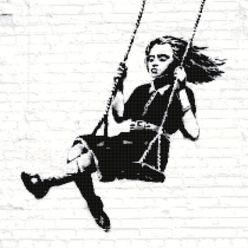 counted Cross stitch pattern bansky street art murales 206 * 213 stitches CH1006