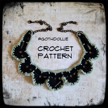 PATTERN: Aimee Choker Necklace by GothDollie  This is a PDF file that includes all the instructions needed to make your own Crochet piece of