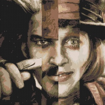 Counted Cross Stitch pattern Johnny Depp actor pdf 220x167 stitches CH1730