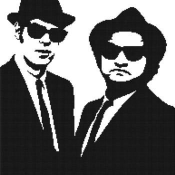 Counted Cross Stitch pattern Blues brothers singers band 193 * 230 stitches CH035