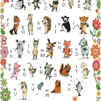 Counted cross stitch pattern alphabet characters pet 331 * 550 stitches CH1372