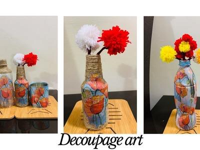 Decoupage bottle art | How to make a decoupage bottle with mod podge | four decoupage bottle ideas