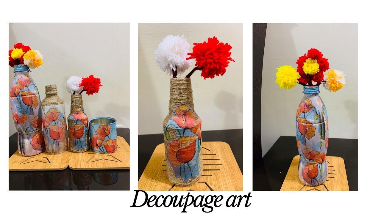Craft, Decoupage bottle art, How to make a decoupage bottle