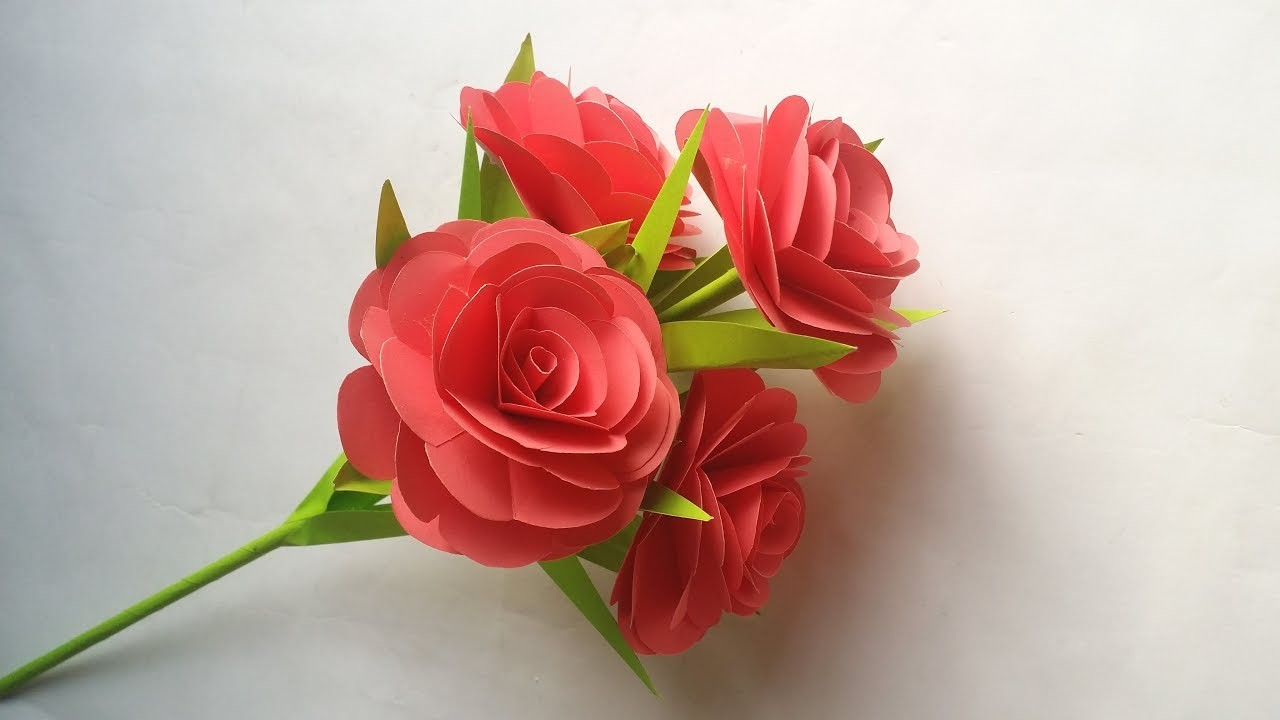 DIY: Paper Flower Stick!!! How to  Make Beautiful Paper Rose.Flower Stick for Home.Room Decoration!!