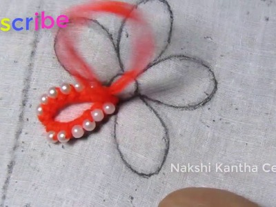 Hand embroidery: Amazing trick flower with pearl embroidery designs sewing hack.