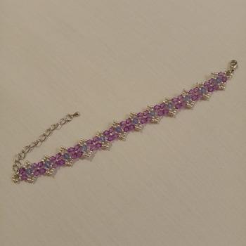 Handmade Silver Purple Blue Bracelet