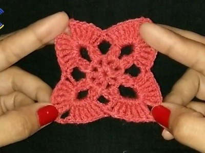 How to crochet motif flower in hindi.how to crochet  square motif flower in hindi