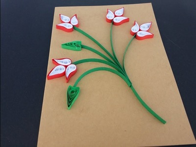 How to make 3d Greeting Quilling Card - DIY Paper Crafts - Birthday Gift Card Ideas # 105