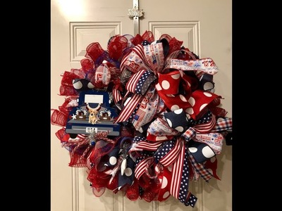 How to make a Patriotic wreath with the candy cane ruffle method and 10 in curls with USA truck sign