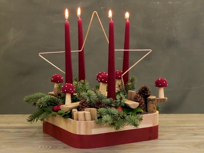 How to make a red Christmas decoration with natural materials