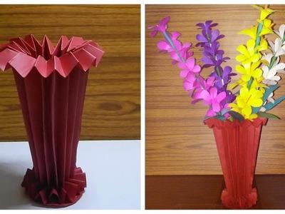 How to make beautiful Paper Flower Vase (DIY  Paper Art)