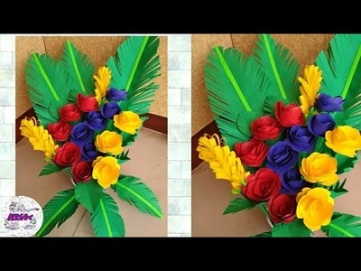 How to make Beautiful Paper Flower Bouquet | Paper Flower Bouquet Wrapping Tutorial | Flower Bouquet