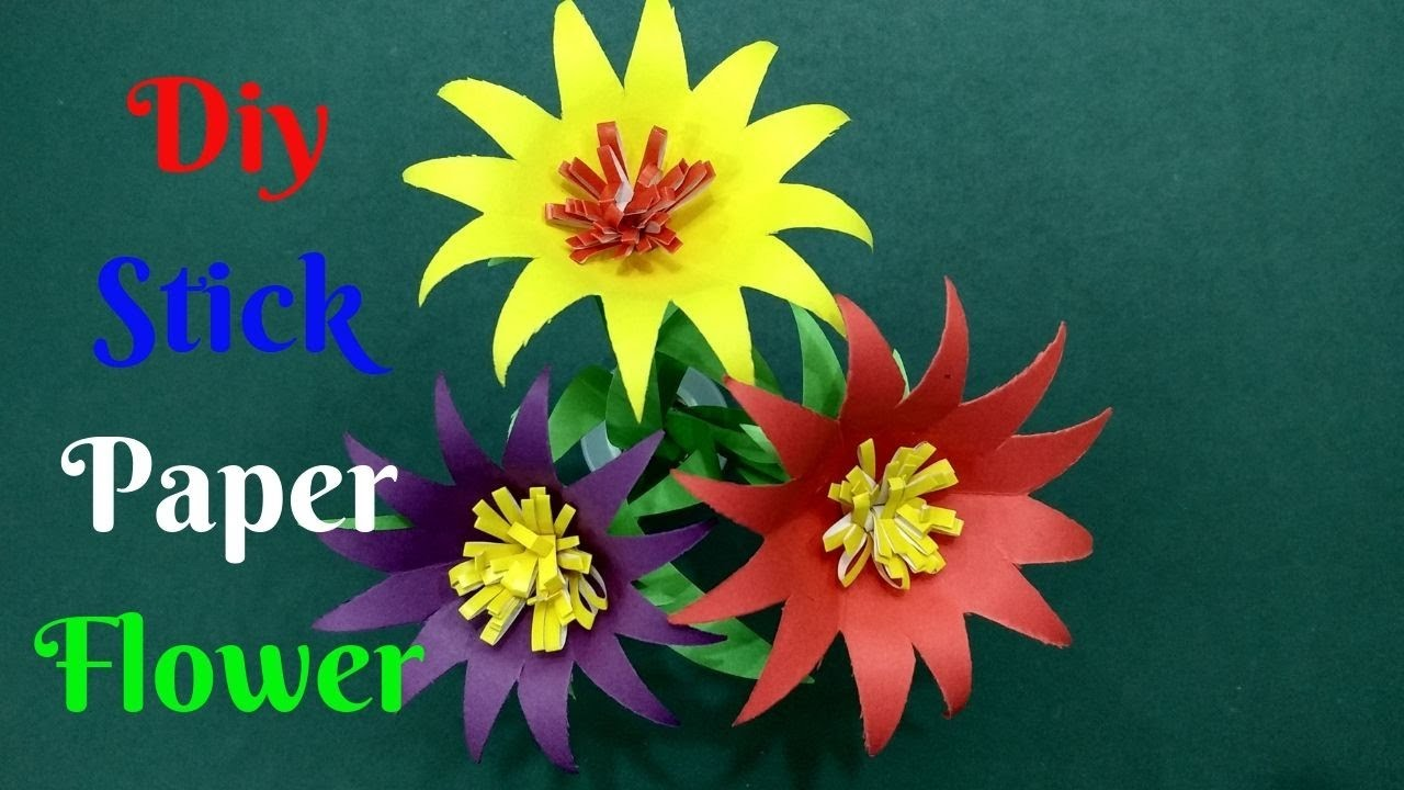 How To Make Beautiful Stick Flower From Paper #17 | Diy Color Paper Flowers | Home Diy Crafts Paper