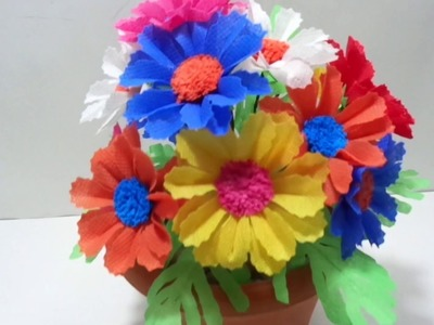 How to Make Colourful  Shopping Bag Flowers in a Very Simple Steps - DIY Making Shopping Bag Flowers