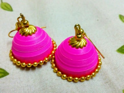 How To Make Easy Quilling Jhumka Without A Mould Pink Jhumka Easy Craft