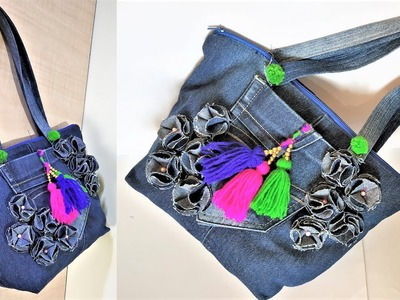 How To Make Hand Bag From Old Jeans, Old Cloth Reuse Ideas , DIY Hand Bag