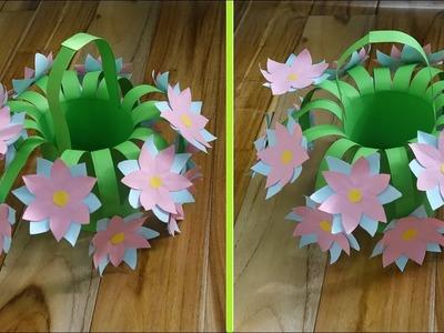 How To Make Paper Flower Basket - DIY Easy flowers for beginners making