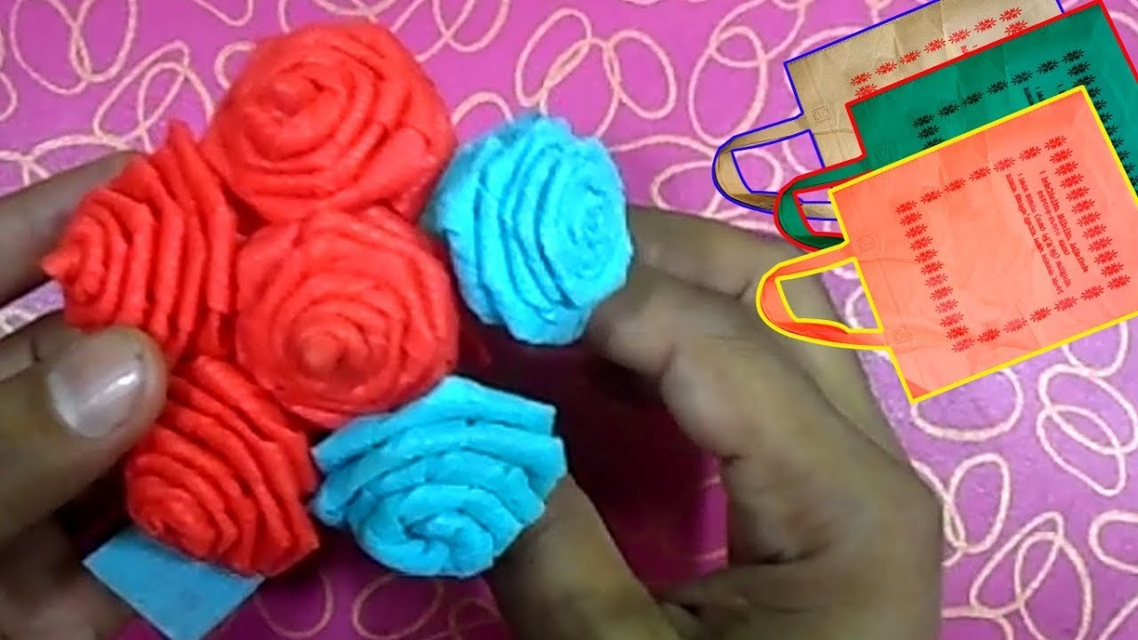 How to make rose with shopping bag | shopping bag flower rose | shopping bag craft ideas |