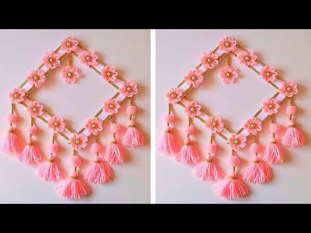 How To Make Wall Hanging for Room Decor.Best Out of Waste Woolen Door Hanging.Woolen Craft Idea 1