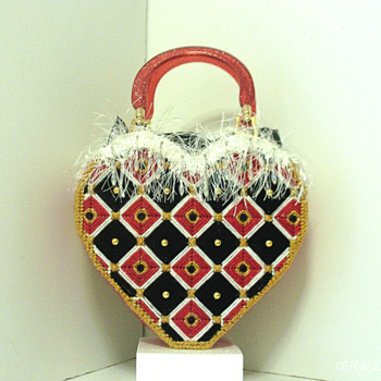 Red,Black & Gold Bargello Heart Tote bag