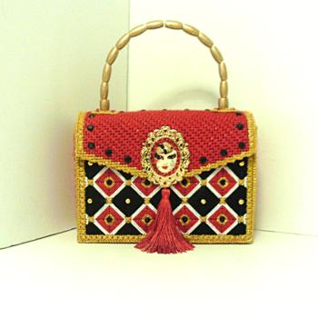 Red,Black & Gold Jeweled Bargello Handbag