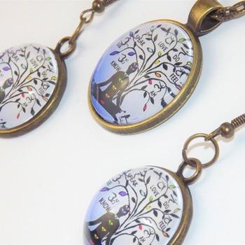 CHAKRA TREE of LIFE Pendant & matching Earrings jewellery set. FREE POST