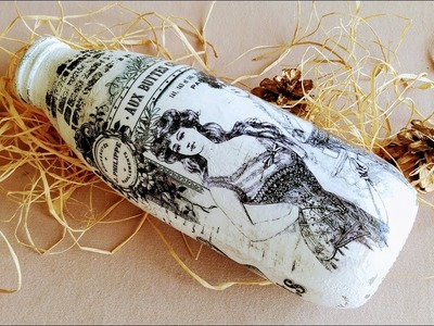DIY Bottle Painting - Upcycle Glass Bottles - How To Paint On Glass - Decoupage On Glass