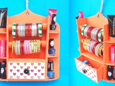 DIY: How to make Bangle Holder at Home with Cardboard | Best out of waste | Easy Makeup Organizer