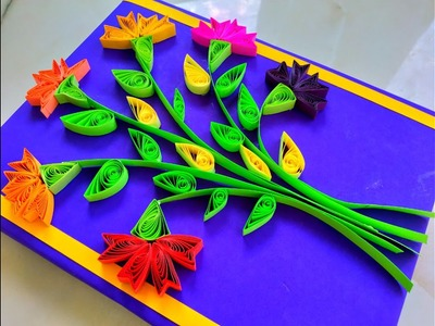DIY | How to Make Quilling Flower Card - Flower Frame Design {HINDI} ????