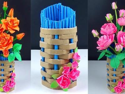 Easy Cardboard Paper Flower Vase - How to Make A Flower Vase At Home - Handmade Craft