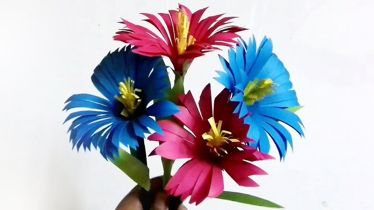Easy Paper Flowers | DIY Flower Making | How to Make Flower Using Paper for Home Decor ! Room Decor