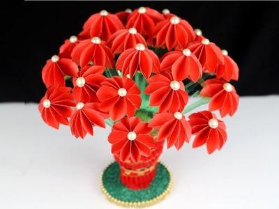 Guldasta banane ka tarika | How to make Flower Vase with paper | DIY Guldasta