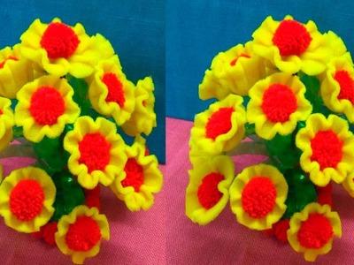 GULDASTA|How To Make New Design FOAM GULDASTA.Waste Plastic Bottle Guldasta.Foam and WOOL Guldasta