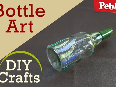 How to Decorate Bottle Art with Colors   DIY Crafts for kids   in English