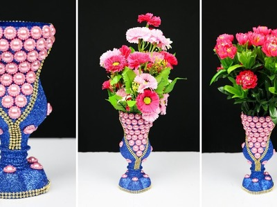 How to make a flower vase with plastic bottle for home decoration | Best out of waste