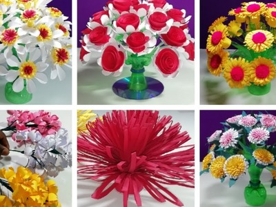 How to make Beautiful 6 flowers | Make Wonderful flower from plastic bottle_ paper Guldasta