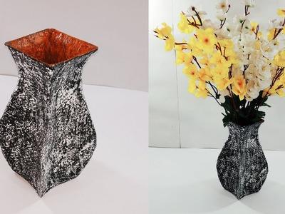 How to make flower pot | Cardboard flower vase making