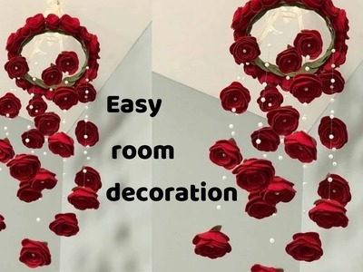 How to make paper decorations for your room||wall decoration with paper flowers