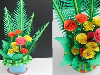 How to make paper flower bouquet | diy flower bouquet paper |  make paper floral decoration