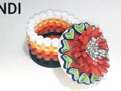 How To Make. Quilling Round Gift Jewellery Box. Homemade Design. In Hindi
