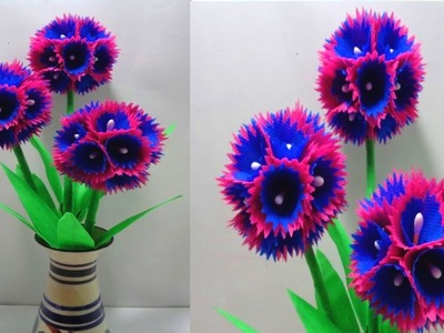 How to Make Shopping Bag Flowers Using Hot Glue - Very Simple Shopping Bag Flowers Making Idea