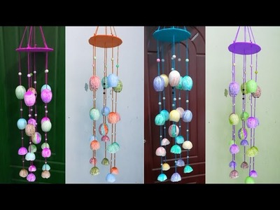 How To Make Wind Chimes With Waste Material - Best Out of Waste - Home Decoration -Egg Decor Idea