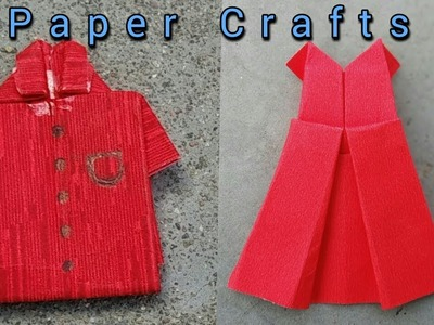 Paper crafts |How to make T-shirt & dress using cardboard| Simple crafts.