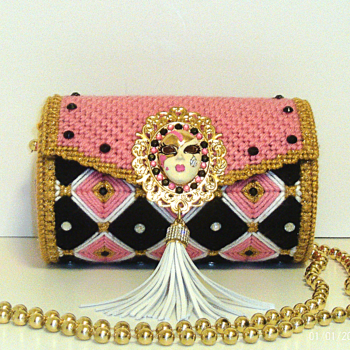 Pink,Black& Gold Round Bargello Purse