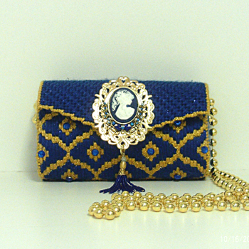 Royal Blue & Gold Jeweled Clutch
