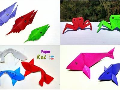 4 Easy Paper Sea Animals || Origami Sea Animals || DIY