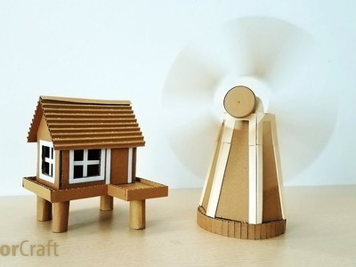 DIY Make A Beautiful House And Windmill From Cardboard - Creator Craft