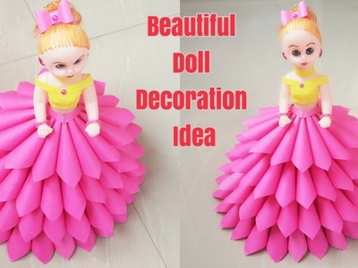 How to Decorate Doll using Paper. DIY Paper Dress For Doll. Doll Decoration Idea