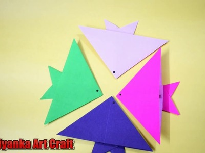 How to make an paper origami fish easy step by step tutorial V-2